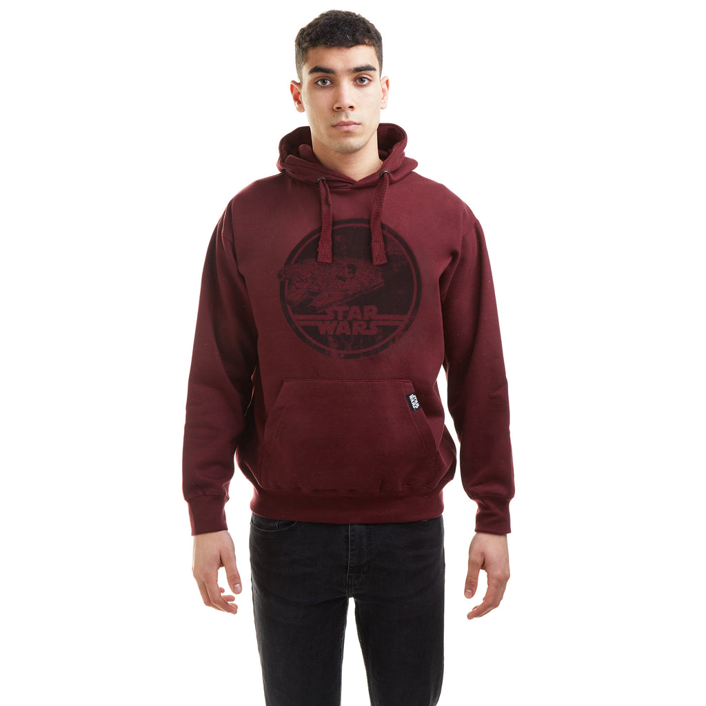 Star Wars Mens - Millenium Badge - Pullover Hood - Burgundy