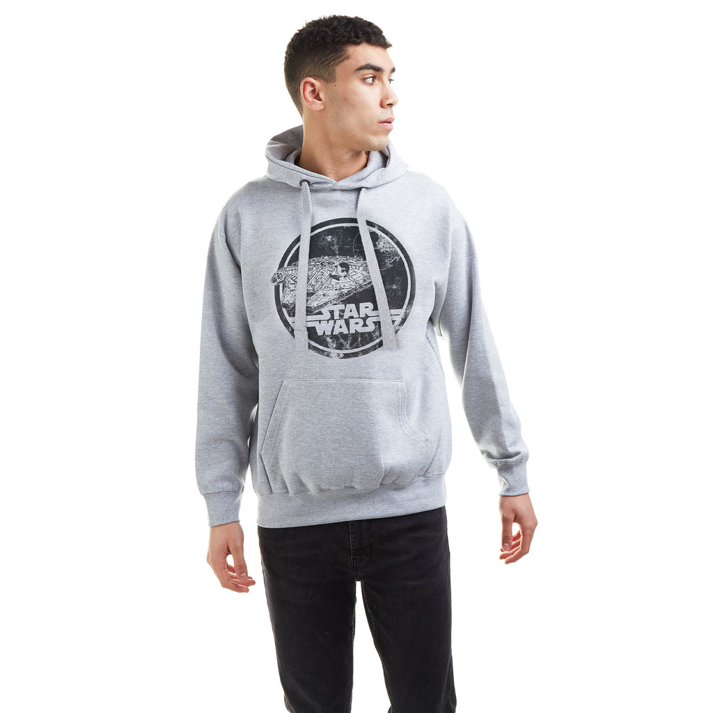 Star Wars Mens - Millenium Badge - Pullover Hood - Grey Heather
