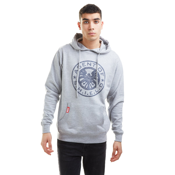 Marvel Mens -Retro Shield Logo - Hoodie - Grey Marl