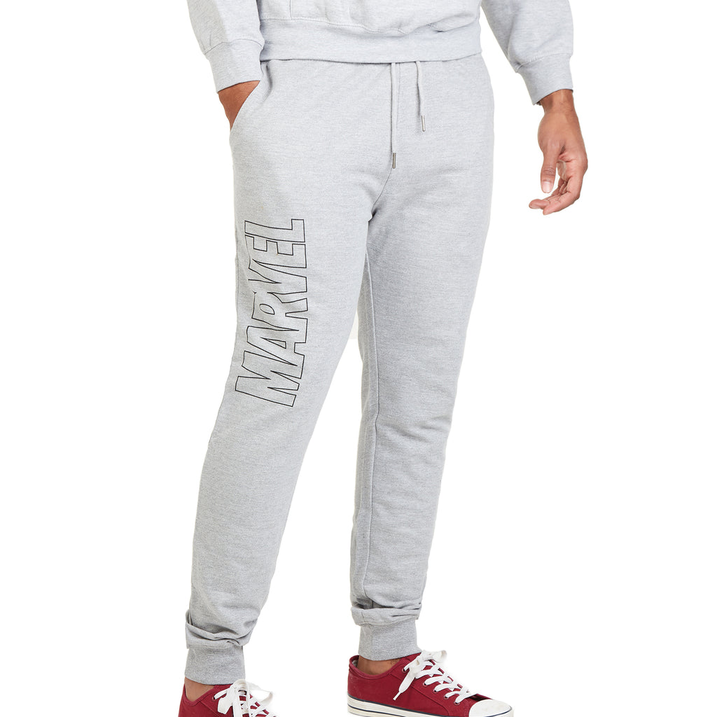 Marvel Mens - Vertical Logo - Jog Pants - Grey Heather