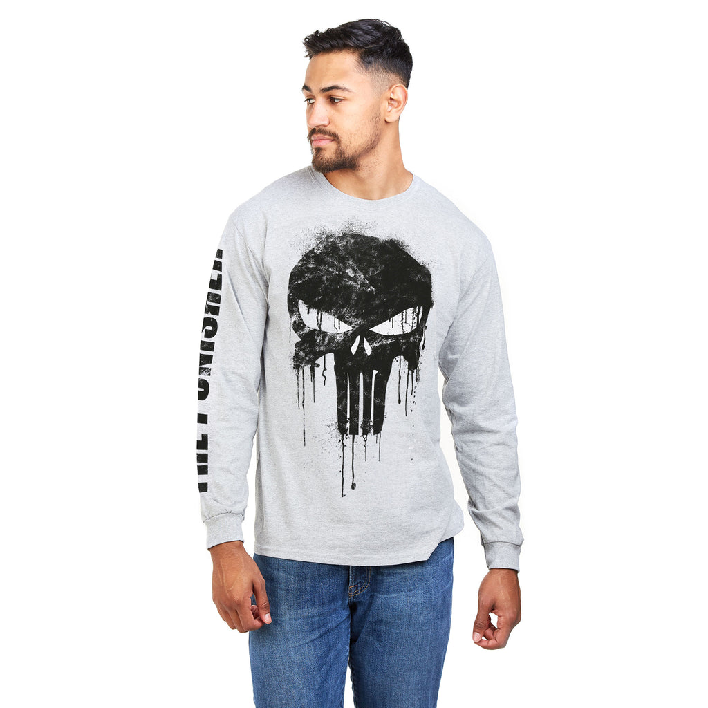 Marvel Mens - Punisher Skull - Long Sleeved T-Shirt - Grey Heather