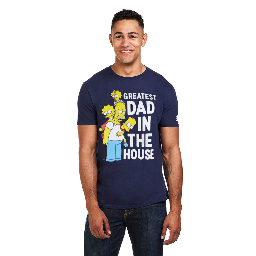 The Simpsons Mens - Greatest Dad - T-Shirt - Navy
