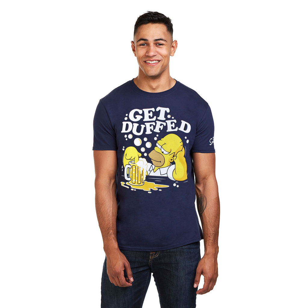 The Simpsons Mens - Get Duffed - T-Shirt - Navy - CLEARANCE