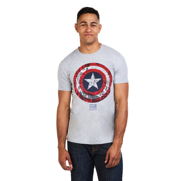 Marvel Mens - Captain America Comic Shield - T-shirt - Grey