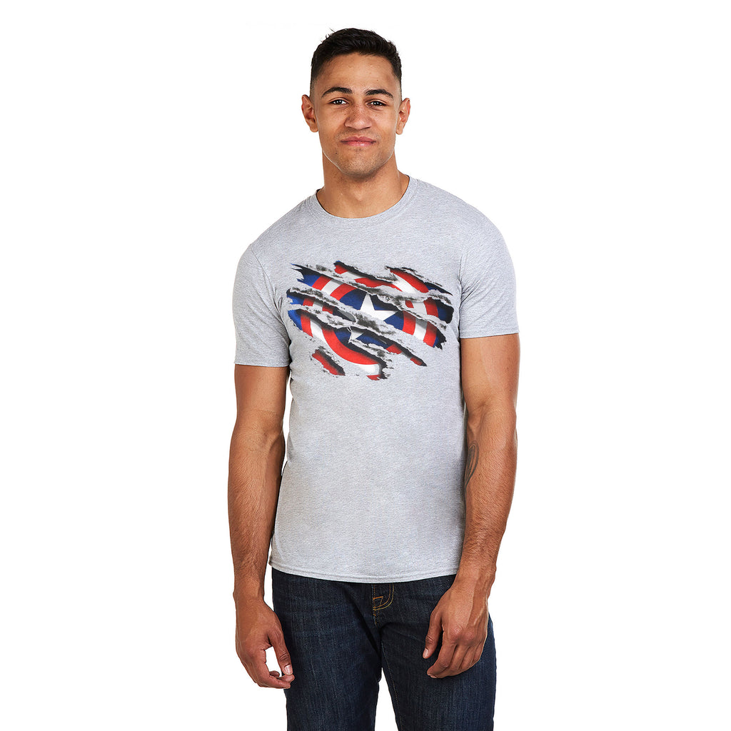 Marvel Mens - Captain America Torn - T-shirt - Grey Heather