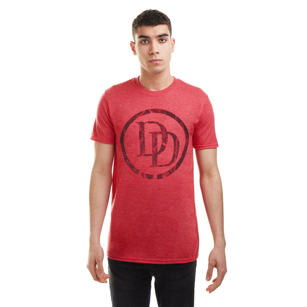Marvel Mens - Daredevil Logo - T-Shirt - Heather Red