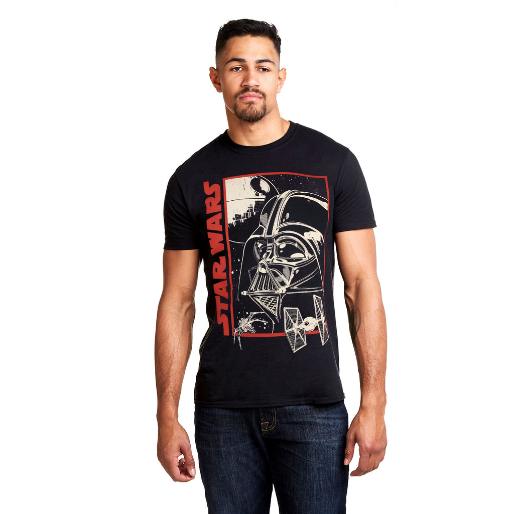 Star Wars Mens - Vader Poster - T-Shirt - Black