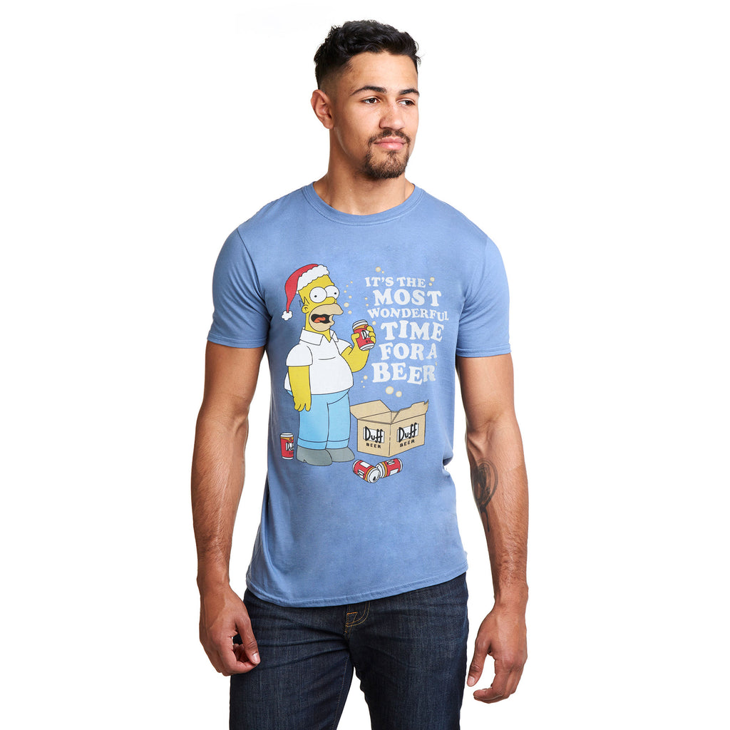 The Simpsons Mens - Wonderful Time - T-shirt - Indigo