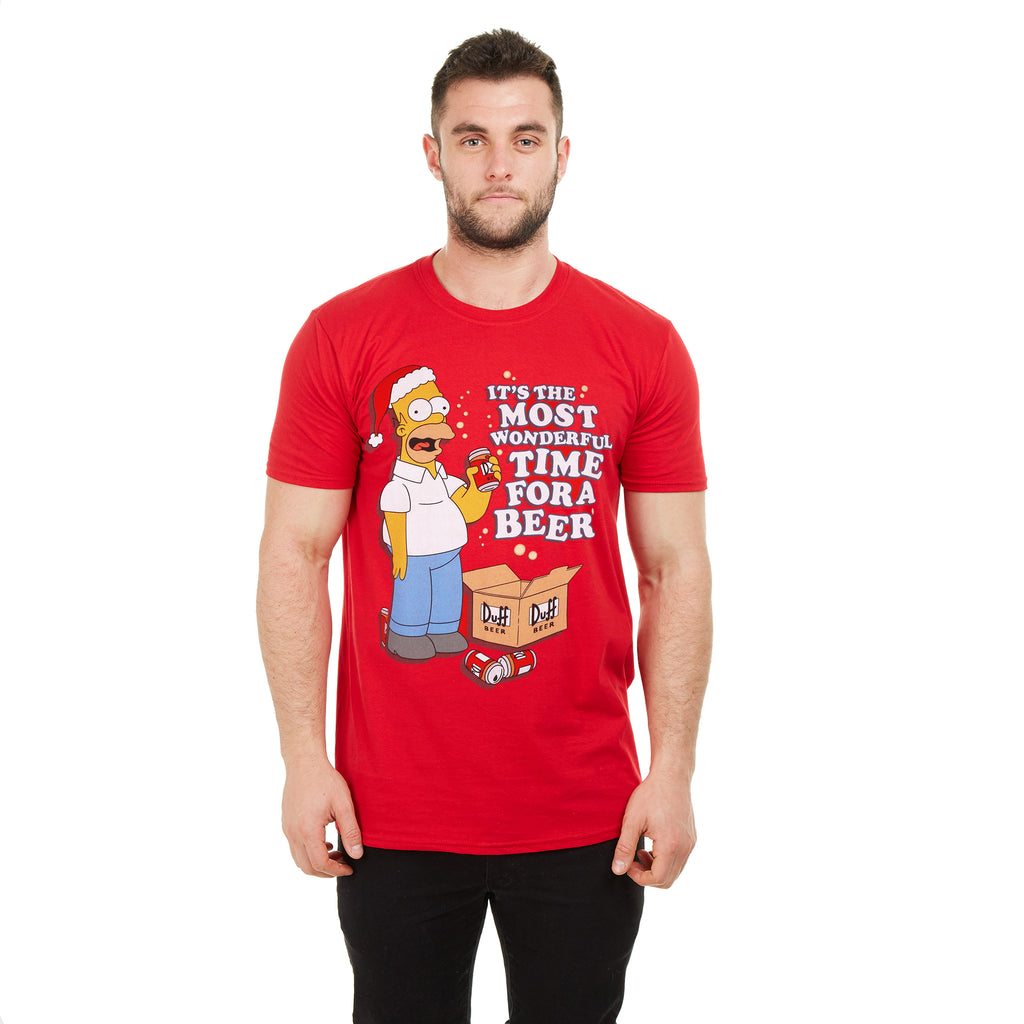 The Simpsons Mens - Wonderful Time - T-shirt - Red