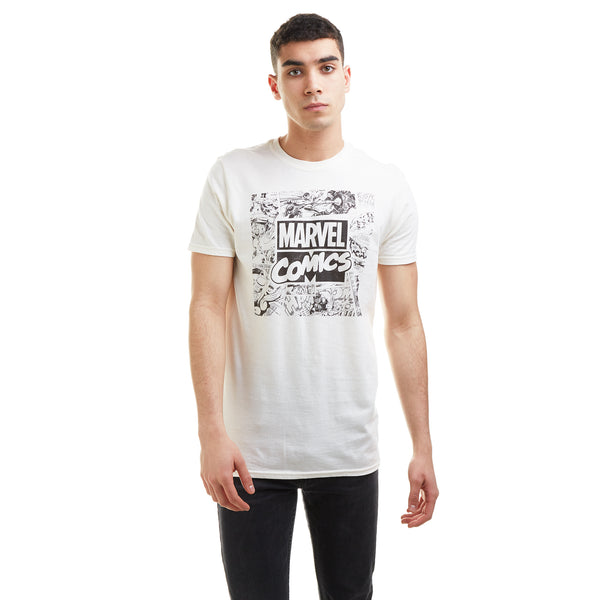 Marvel Mens - Retro Square - T-shirt - Natural