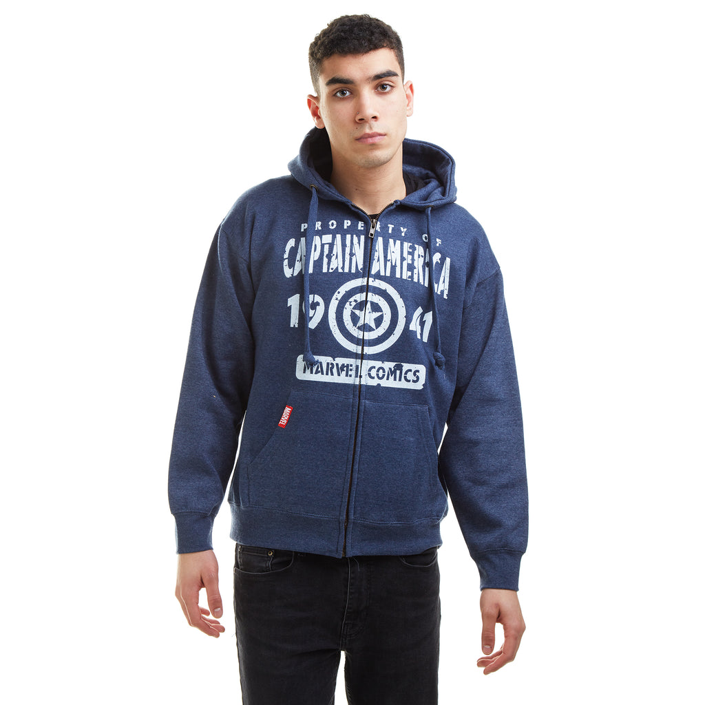 Marvel Mens - Property Of - Zipped Hoodie - Navy Heather