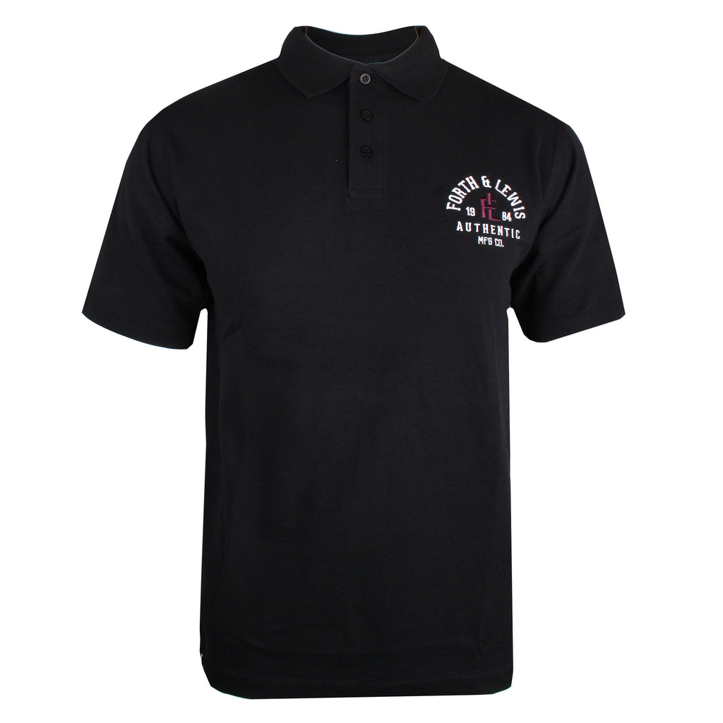 Forth & Lewis Men's - Monogram - Polo - Black - CLEARANCE