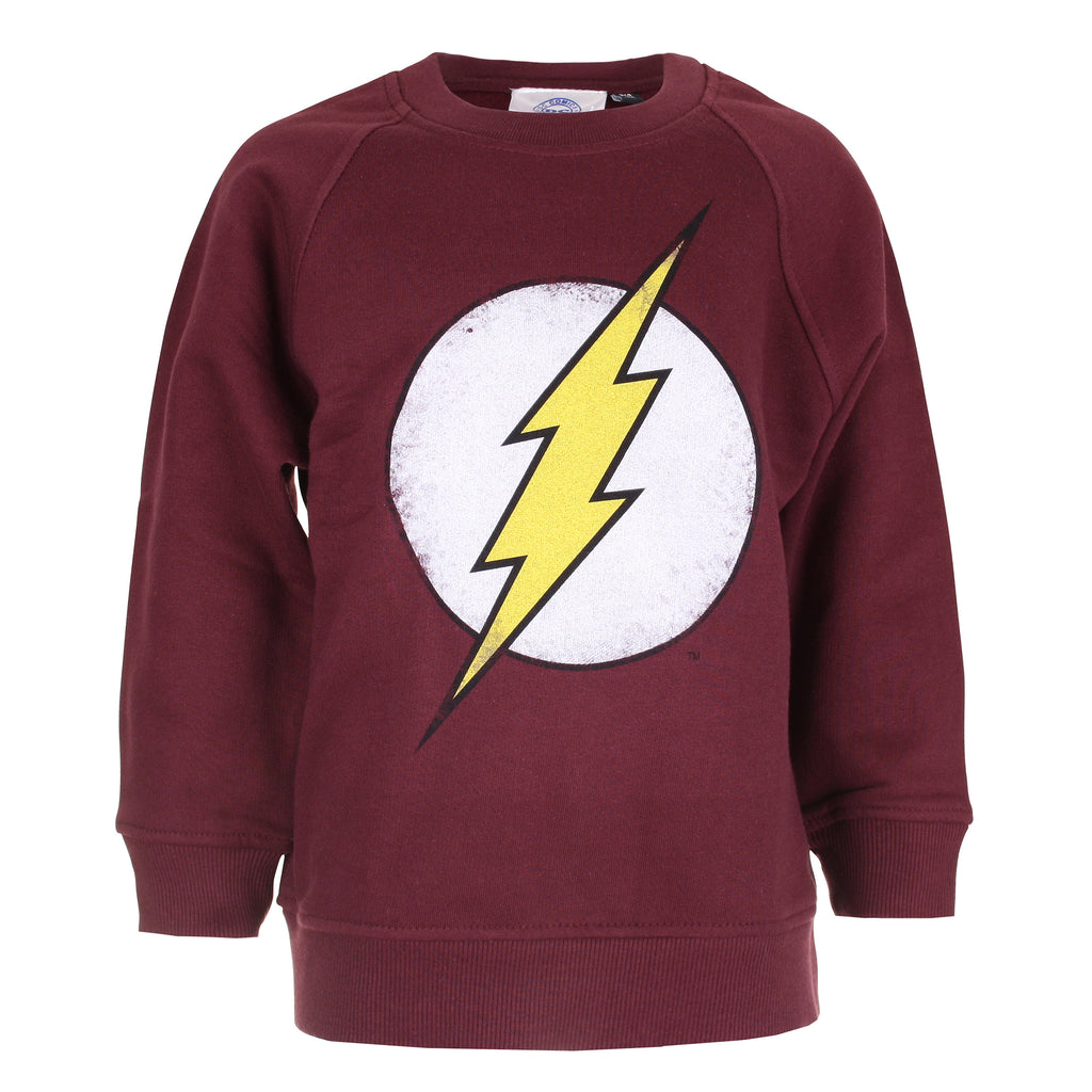 DC Comics Boys - Flash Distress Logo - Crew Sweat - Burgundy