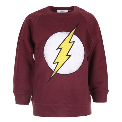 DC Comics Boys Flash Distress Logo Crew Sweat - Burgundy