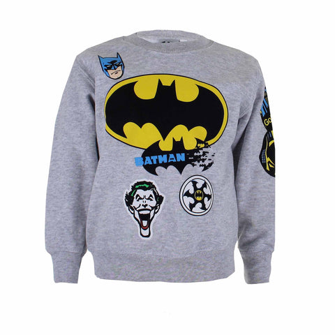 DC Comics Boys Batman Badge Crew Sweat - Sports Grey