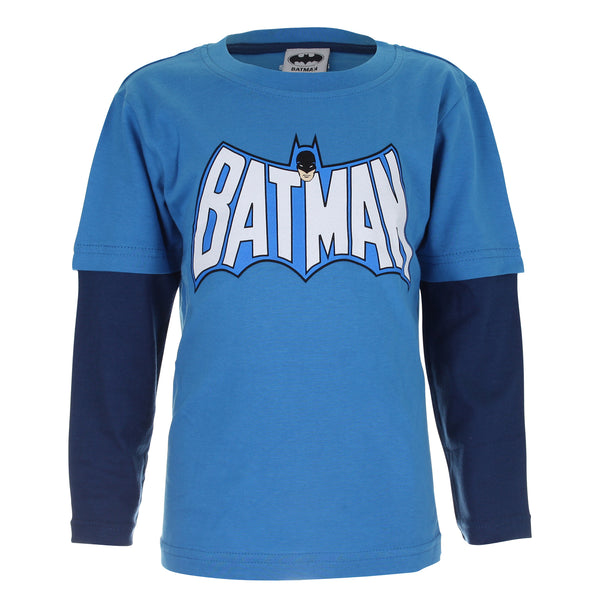DC Comics Kids - Batman Retro Logo - Long Sleeve T-Shirt - Turquoise/ Navy - CLEARANCE