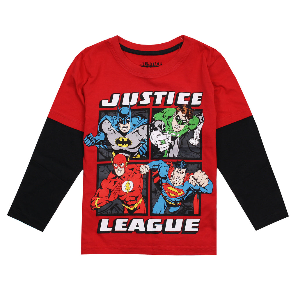 DC Comics Boys - Justice League Squared - Long Sleeve T-Shirt - Red/Black