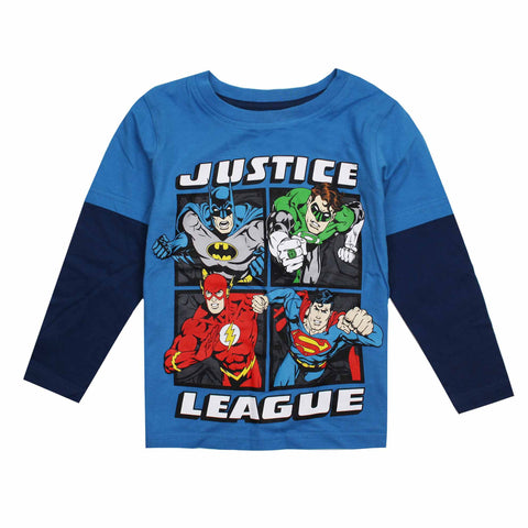 DC Comic Boys Justice League Squared Long Sleeve T-Shirt - Turquoise/Navy
