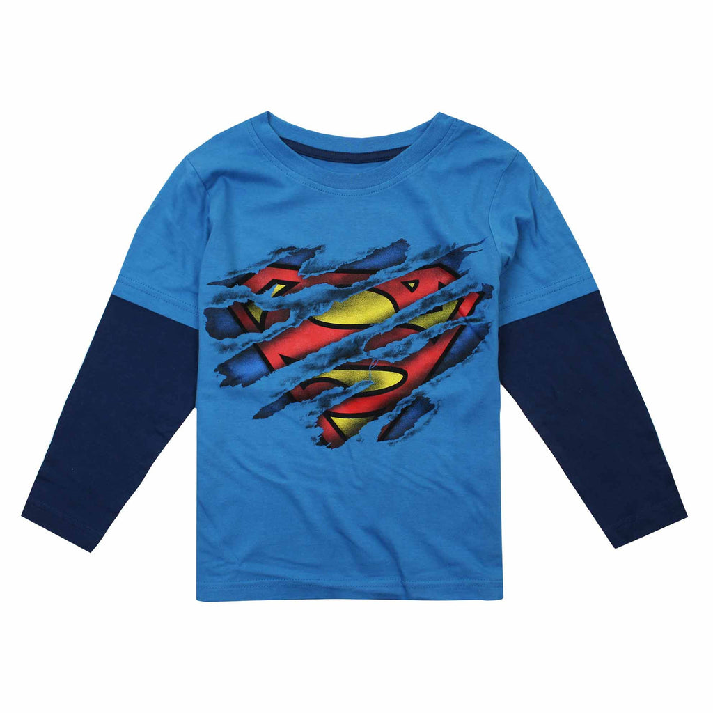 DC Comic Boys Superman Torn Long Sleeve T-Shirt - Turquoise/Navy