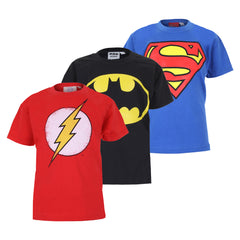 DC Comic Boys Pack 4 T-Shirt Pack - Red/Royal Blue/Black