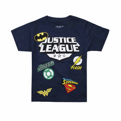DC Comic Boys Justice League Patches T-Shirt - Navy