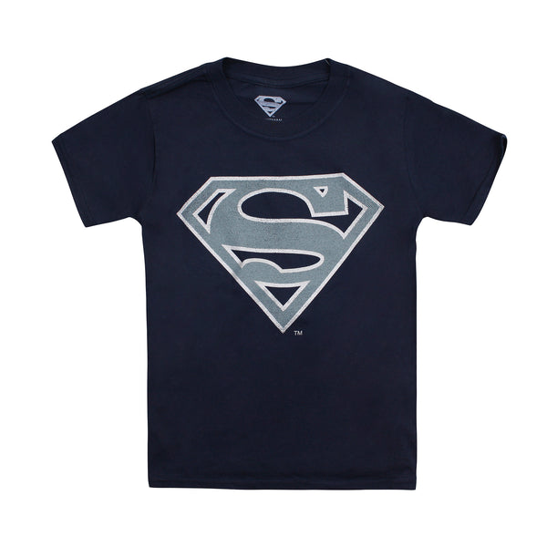 DC Comics Boys - Superman Mono Silver - T-Shirt - Navy