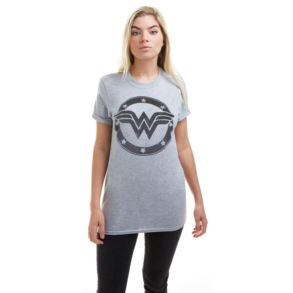 DC Comics Ladies - Wonder Woman Metallic Logo - T-Shirt - Sport Grey