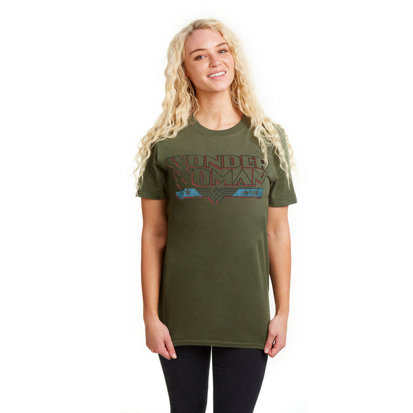 DC Comics Ladies - Wonder Woman Retro - T-Shirt - Military Green - CLEARANCE