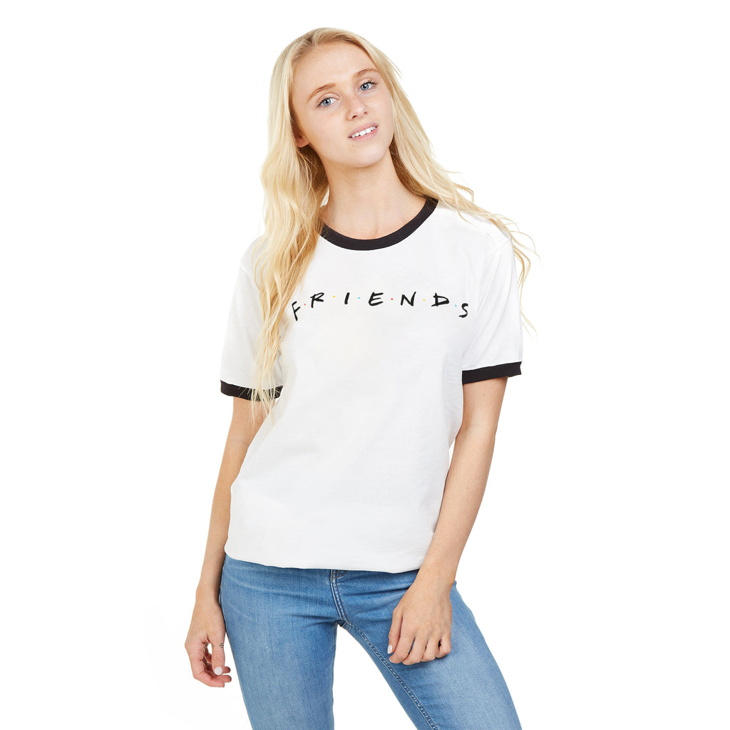 Friends Ladies - Titles - Ringer T-shirt - White/ Black