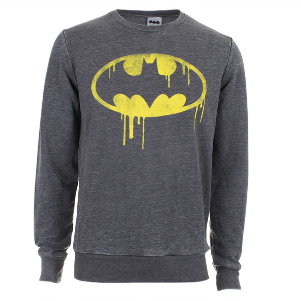 DC Comic Mens Batman Dripping Logo  Crew Sweat - Charcoal
