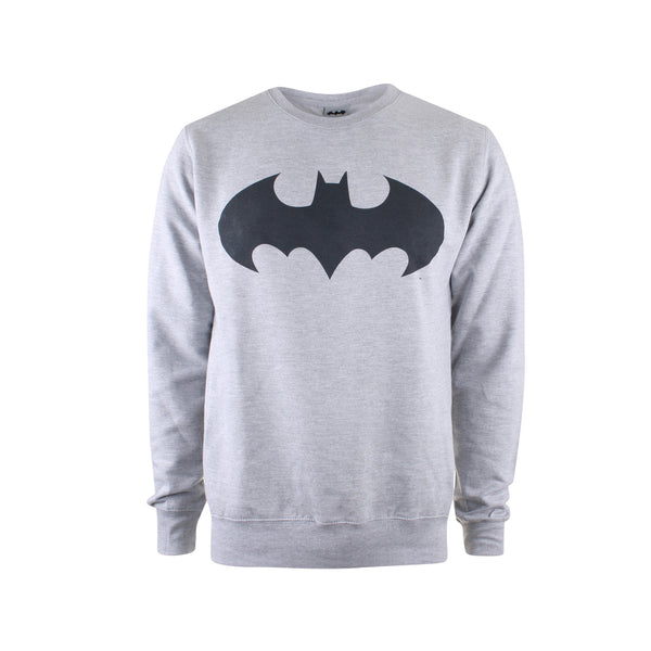 DC Comics Mens - Batman Mono - Crew Sweat - Grey Marl