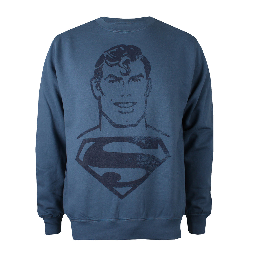 DC Comics Mens - Superman Acid Wash - Crew Sweat - Airforce Blue