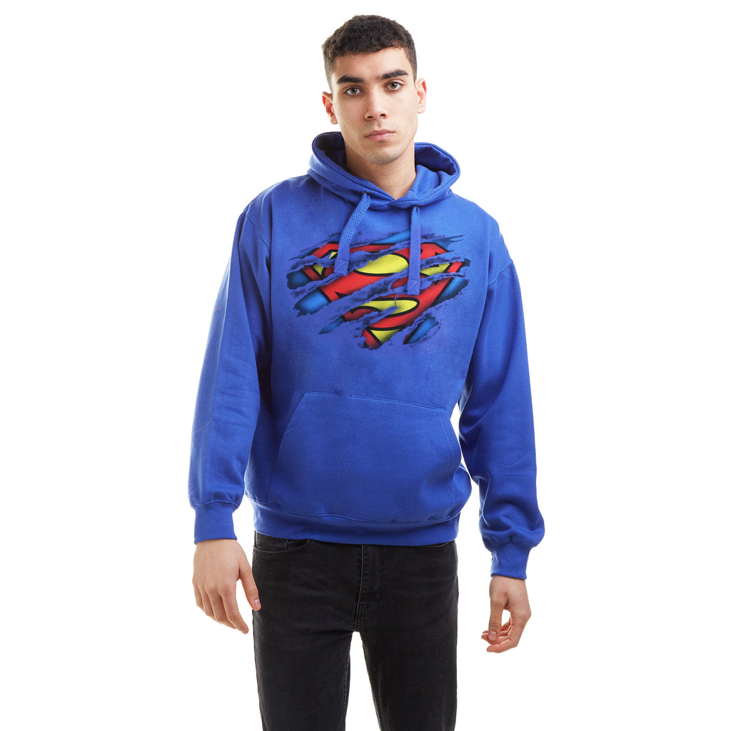 DC Comics Mens - Superman Torn Logo - Pullover Hood - Royal