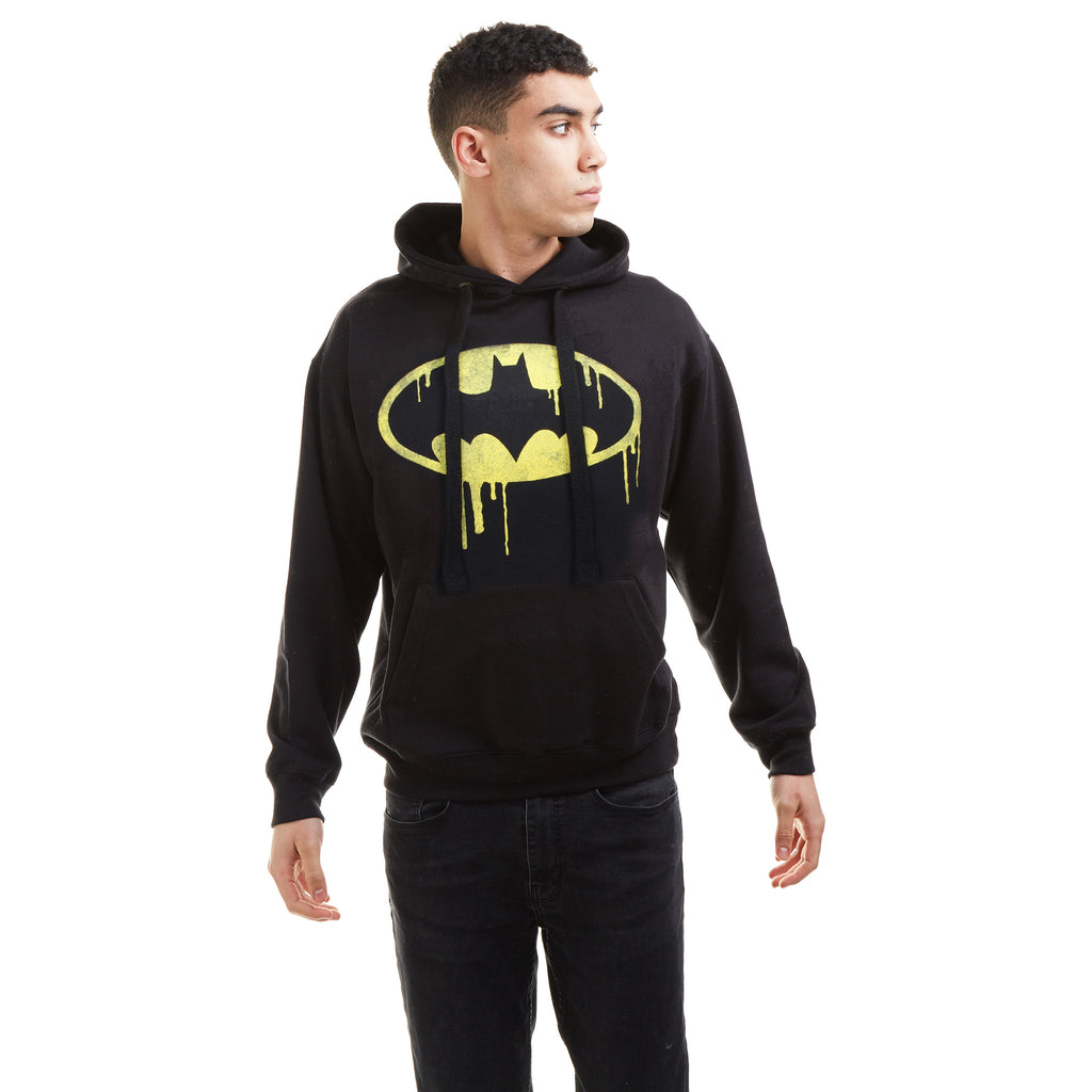 DC Comics Mens - Batman Dripping Logo - Pullover Hood - Black