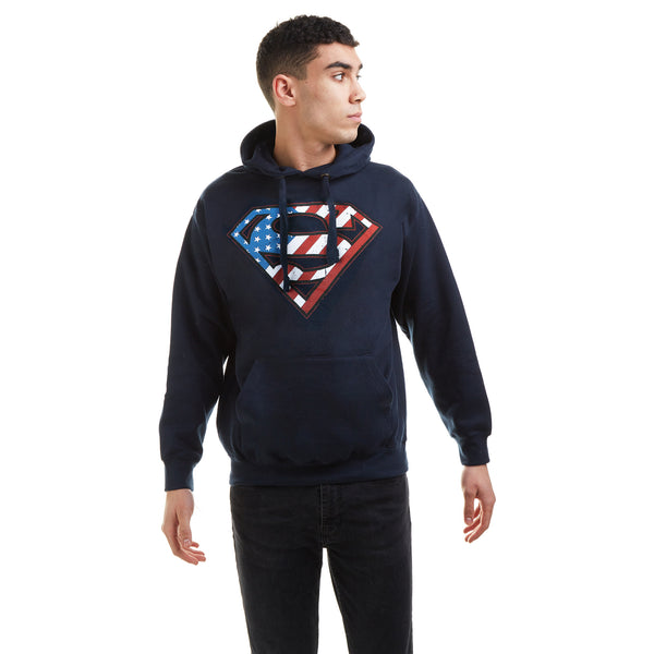 DC Comics Mens - Superman Flag - Pullover Hood - Navy