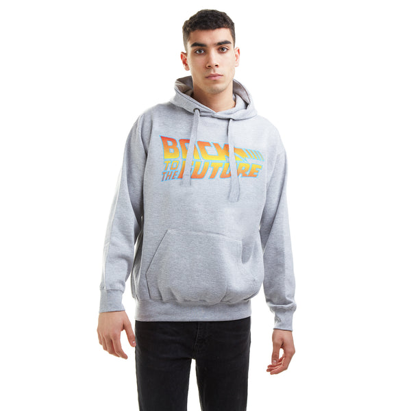 Back To The Future Mens - Logo - Pullover Hood - Grey