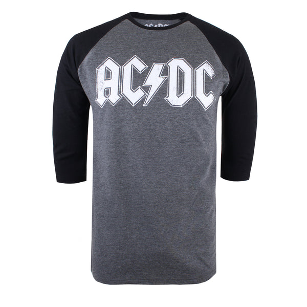 AC/DC Mens - Logo Raglan - Long Sleeve T-Shirt - Grey / Black