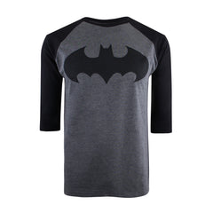 DC Comic Mens Batman Mono Long Sleeve T-Shirt - Charcoal Heather/Black