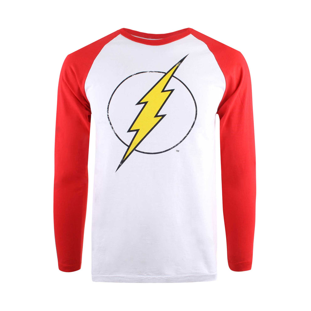 DC Comic Mens Flash Distress Logo Long Sleeve T-Shirt - White