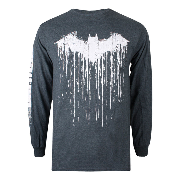 DC Comics Mens - Batman Paint - Long Sleeve T-Shirt - Dark Heather - CLEARANCE