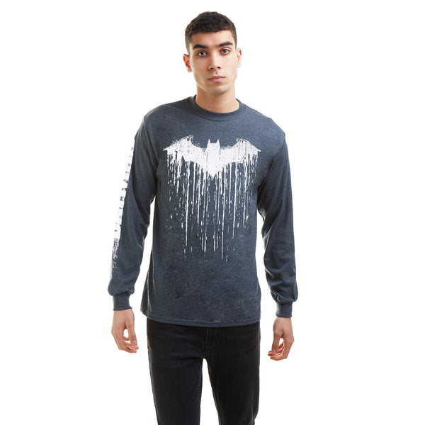 DC Comics Mens - Batman Paint - Long Sleeve T-Shirt - Dark Heather