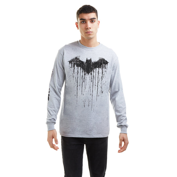 DC Comics Mens - Batman Paint - Long Sleeve T-Shirt - Grey Marl - CLEARANCE