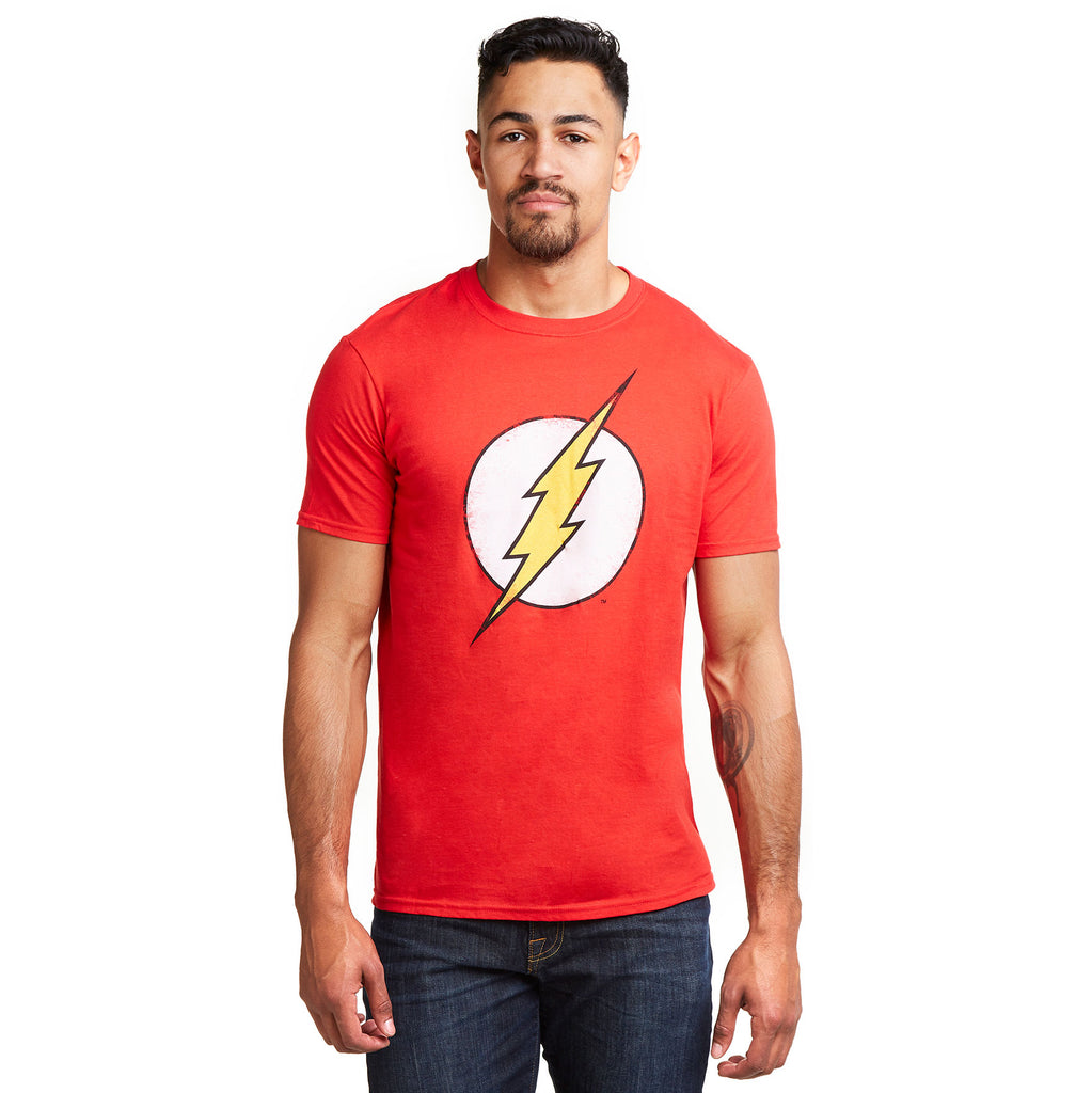 DC Comics Mens - Flash Distress Retro - T-Shirt - Red
