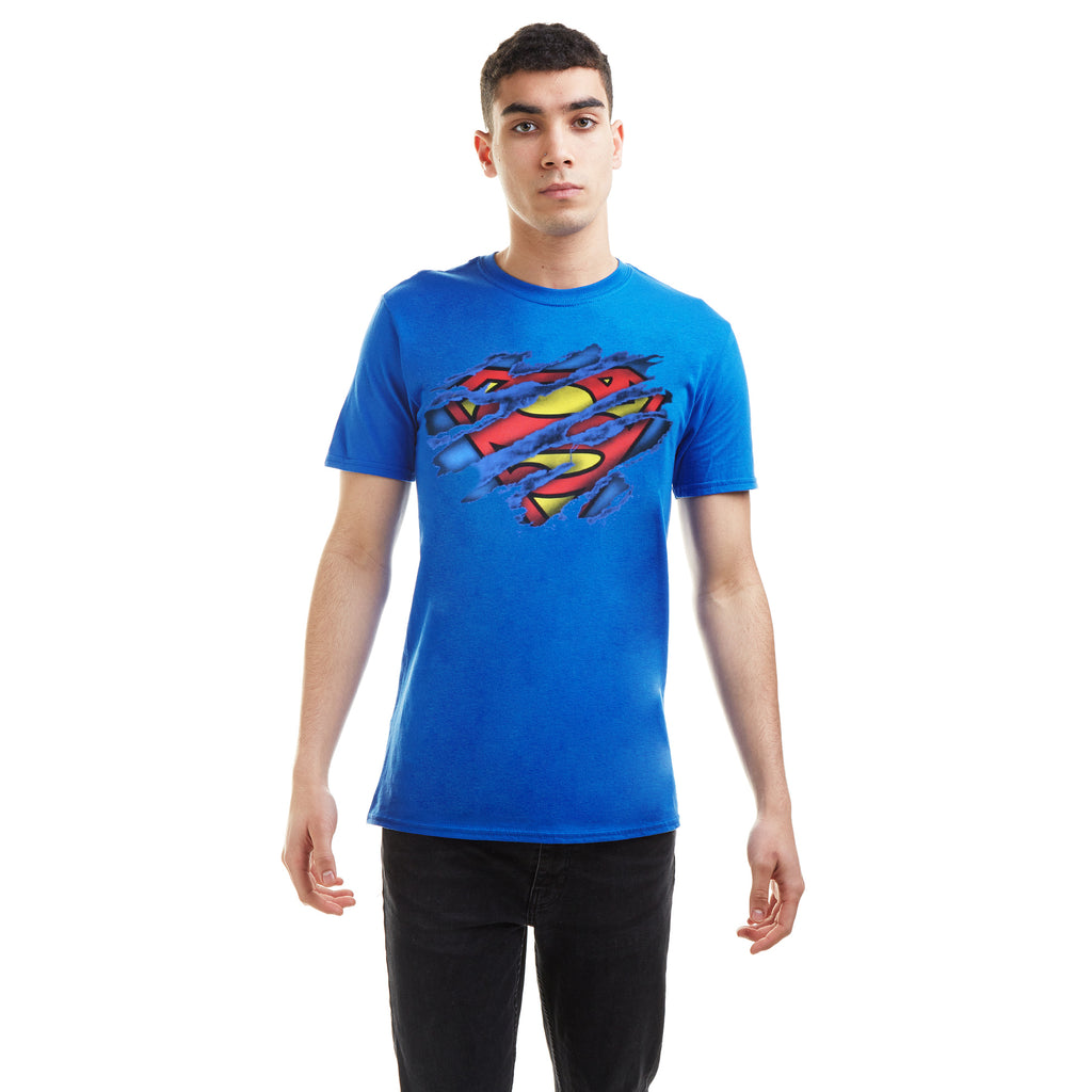 DC Comics Mens - Superman Torn Logo - T-shirt - Royal