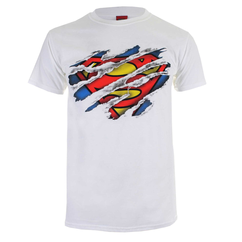 DC Comic Mens Superman Torn Logo T-Shirt - White