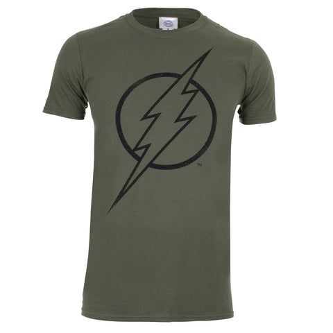 DC Comic Mens Flash Line Logo T-Shirt - Military Green