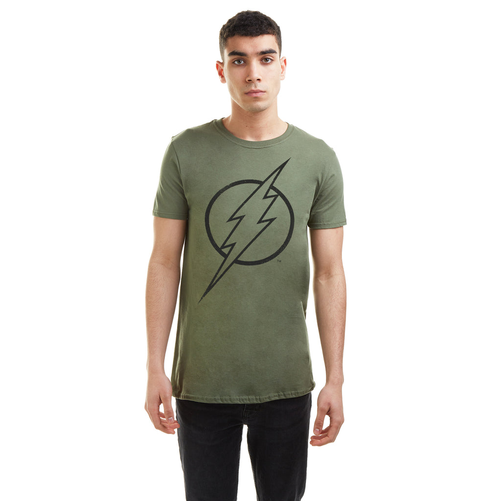 DC Comics Mens -  Flash Line Logo - T-Shirt - Military Green