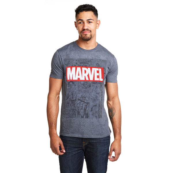 Marvel Mens - Mono Comic - T-Shirt - Dark Heather - CLEARANCE