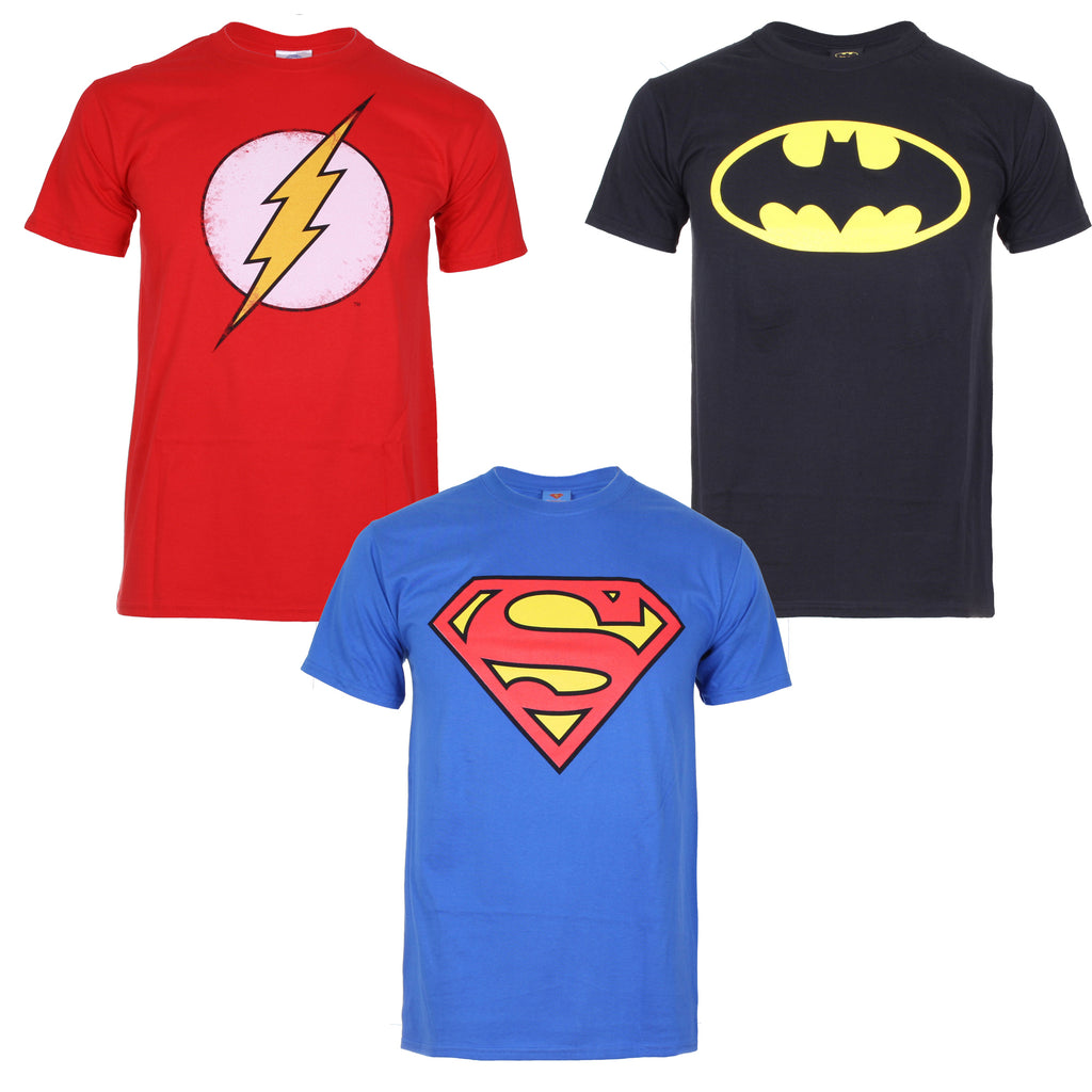 Dc Comics Mens - Pack 1 - 3 Pack T Shirts - Royal Blue/Black/Red