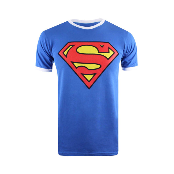 DC Comic Mens Superman Logo Ringer Tee - Royal/White